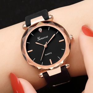 NEW Black and Rose Gold Geneva Quartz Watch